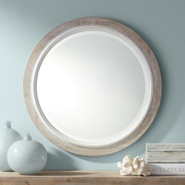 "Sienna Natural Distressed Wood 28 1/4"" Round Wall Mirror"