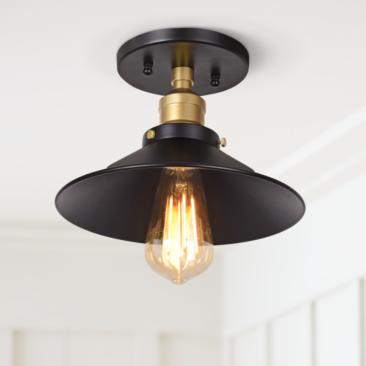 "The District 9 1/2"" Wide Black and Gold LED Ceiling Light"
