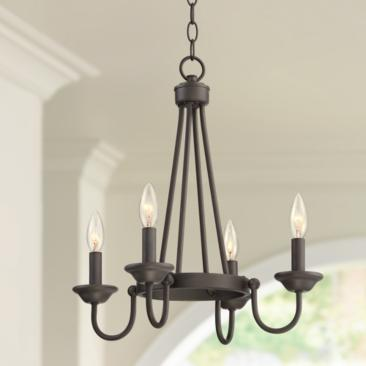 "Christopher 17 3/4"" Wide Bronze 4-Light Round Chandelier"