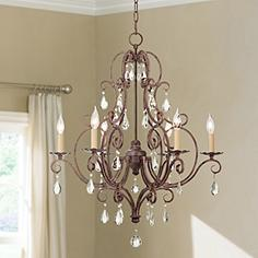 Feiss Cau Collection Mocha Bronze Crystal Chandelier