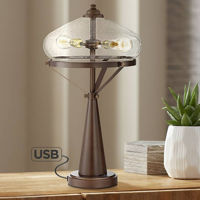 Brisbane Modern Table Lamp with USB Port