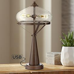 Brisbane Modern Farmhouse Table Lamp with USB Port