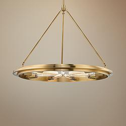 "Hudson Valley Chambers 32"" Wide Aged Brass 9-Light Pendant"