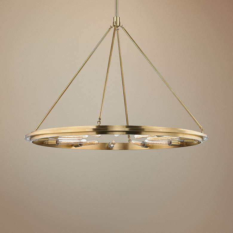 "Hudson Valley Chambers 45"" Wide Aged Brass 12-Light"