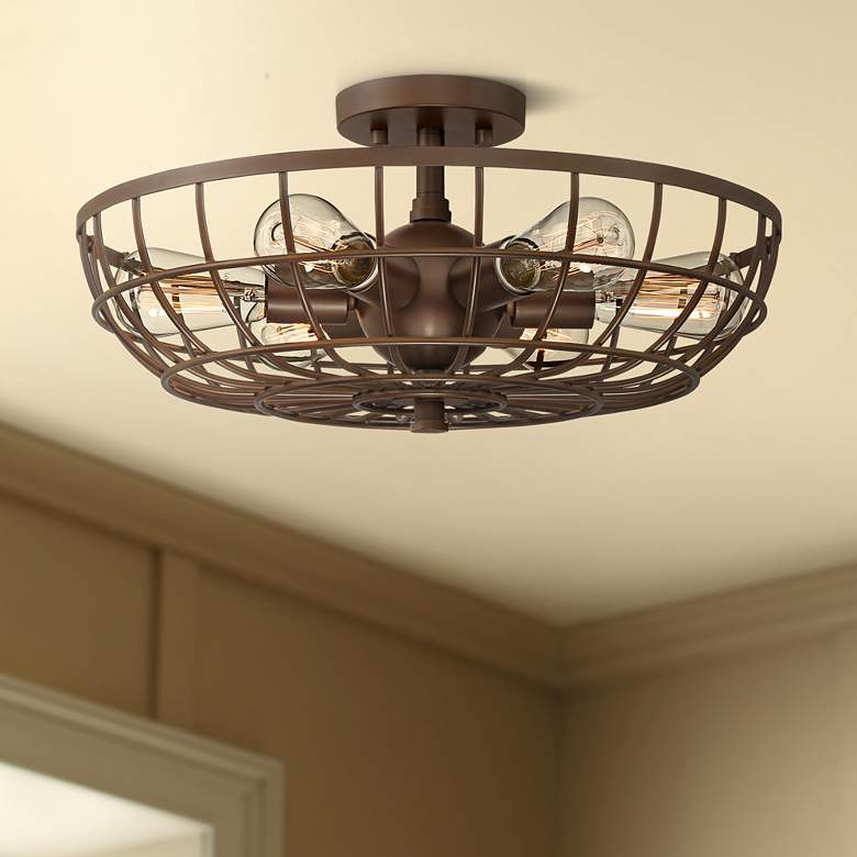 "Crane 18"" Wide Bronze Basket Cage 6-Light Ceiling"