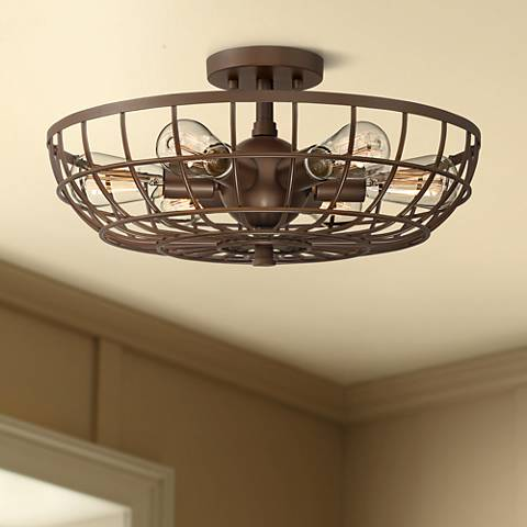 "Crane 18"" Wide Bronze Basket Cage 6-Light Ceiling Light"