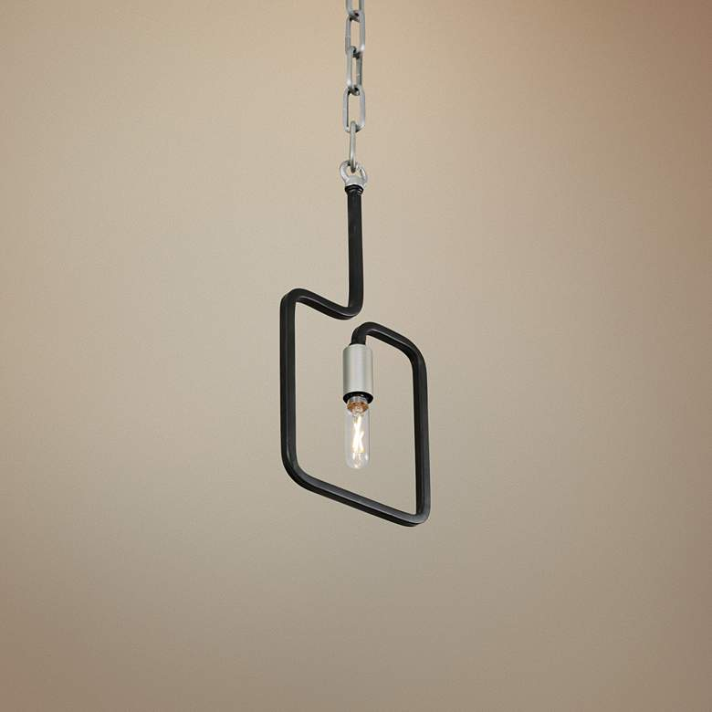 "Varaluz Rectangulo 5 1/2""W Silverado and Black Mini Pendant"