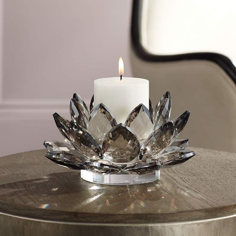 "Gray Glass 9 1/4"" Wide Crystal Lotus Candle"