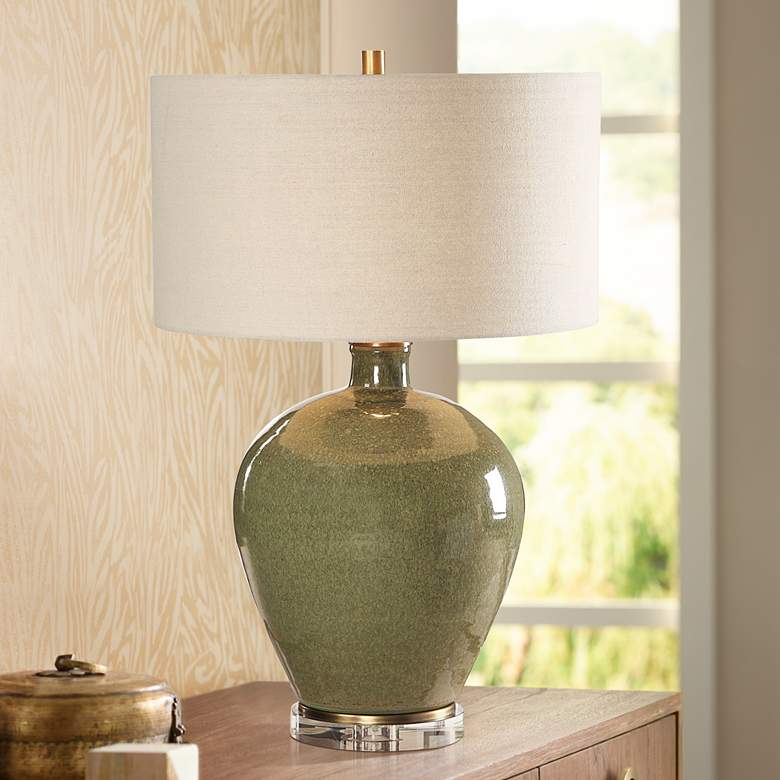 Uttermost Elva Emerald Green Glaze Ceramic Table Lamp