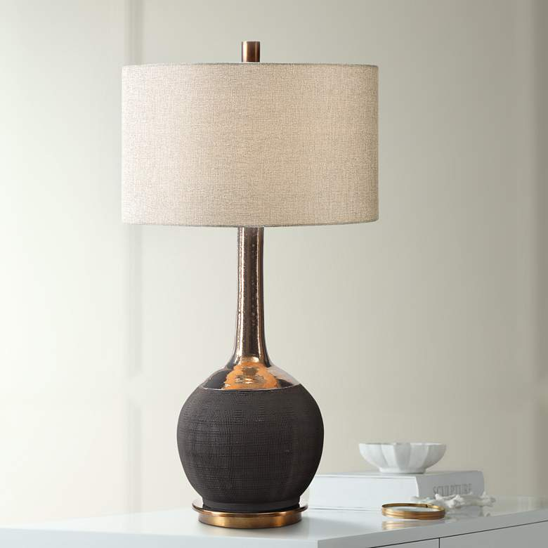 Uttermost Arnav Textured Matte Black Ceramic Table Lamp