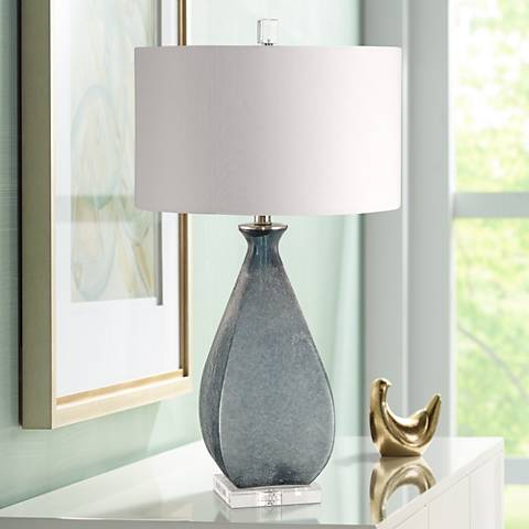 Uttermost Atlantica Acid Etched Ocean Blue Glass Table Lamp