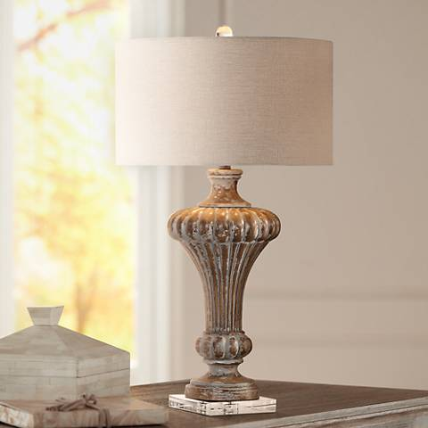 Uttermost Treneece Aged Pecan with Antique Gray Table Lamp