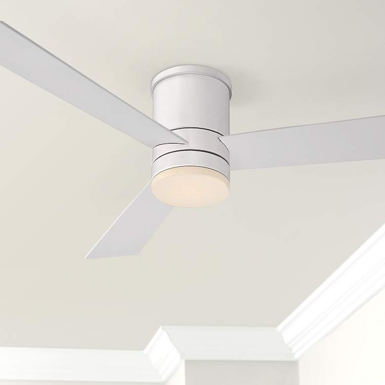 "52"" Modern Forms Axis Matte White Hugger Wet LED Ceiling Fan"