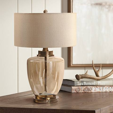 Uttermost Amadore Light Amber Glass Table Lamp 59h52 Lamps Plus