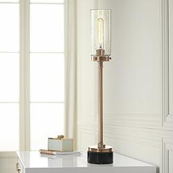 Uttermost Selane Antique Brass Column Buffet Table Lamp