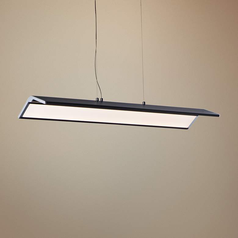 "Glider 34 3/4""W Black and Polished Chrome LED Island Pendant"
