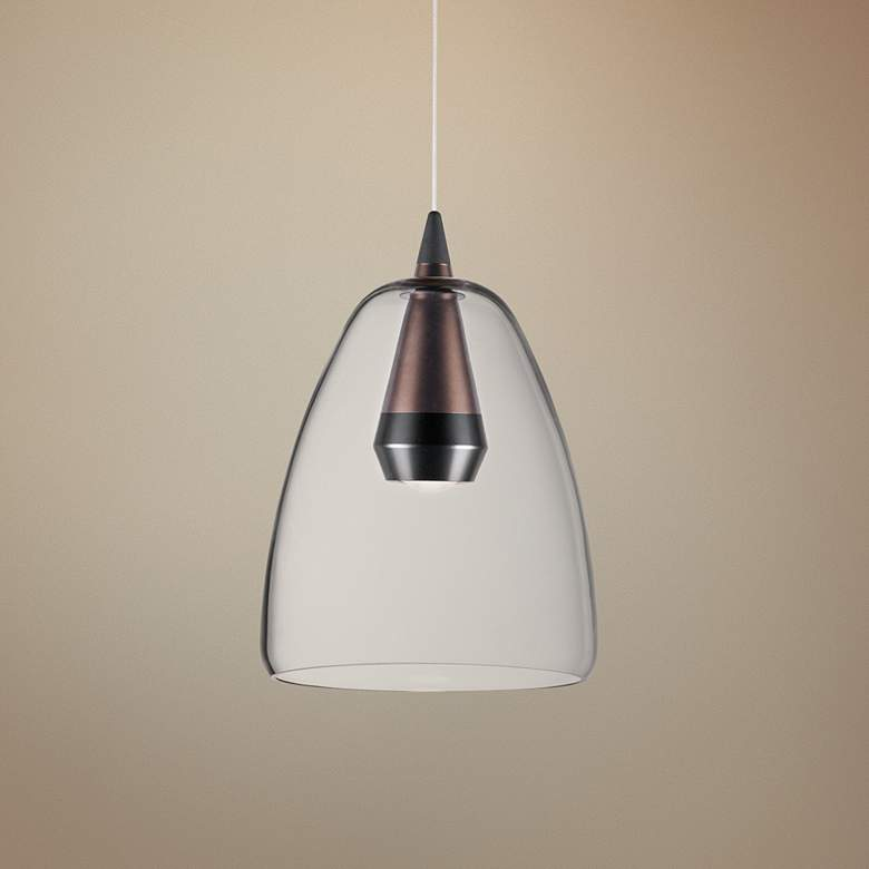 "ET2 Sven 8"" Wide Black and Coffee LED Mini Pendant"