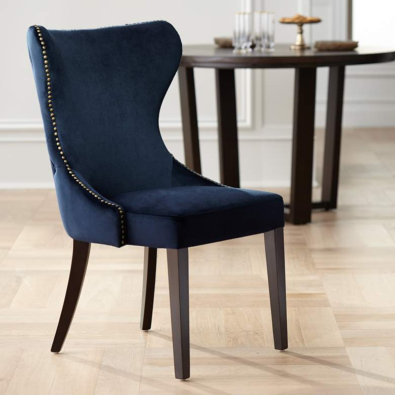 Ariana Antique Brass Trimmed Navy Blue Velvet Dining Chair