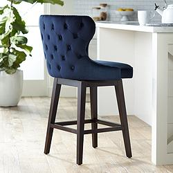 "Ariana 25 1/2"" Brass Trimmed Navy Blue  Swivel Counter Stool"