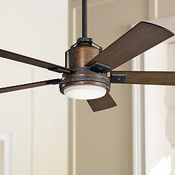"52"" Kichler Colerne Auburn Stained LED Ceiling Fan"