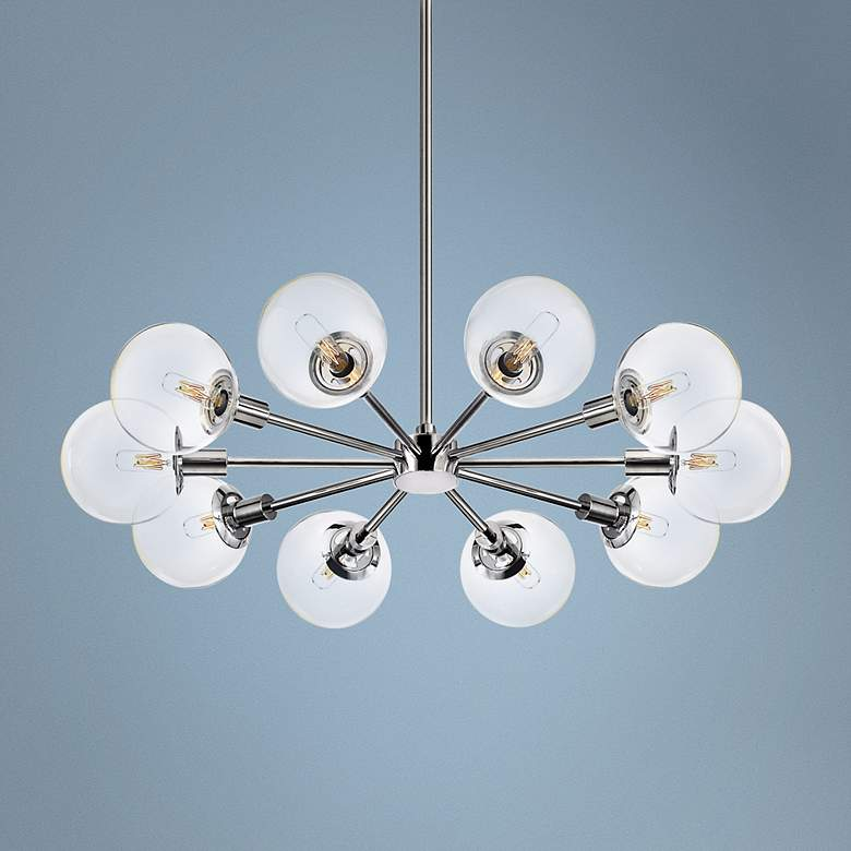 "Sonneman Orb 32"" Wide Polished Chrome Chandelier"
