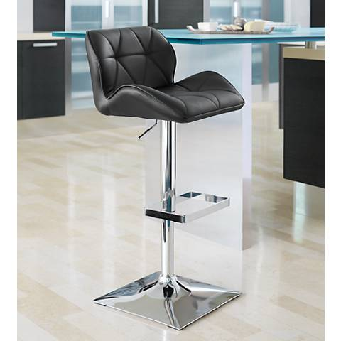 Boulton Black Faux Leather Adjustable Swivel Bar Stool
