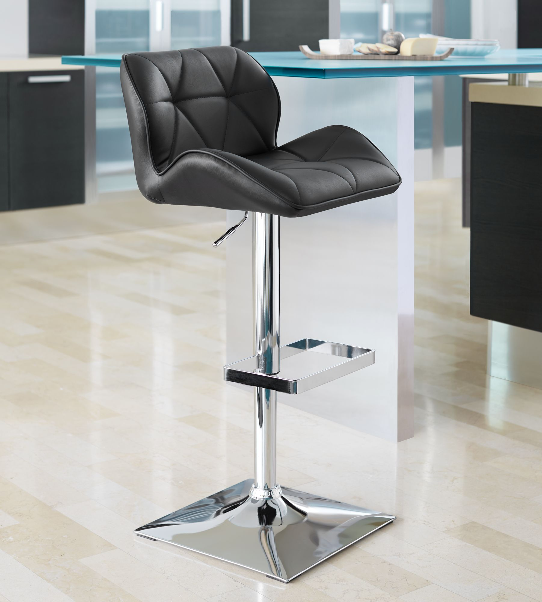 Superieur Boulton Black Faux Leather Adjustable Swivel Bar Stool