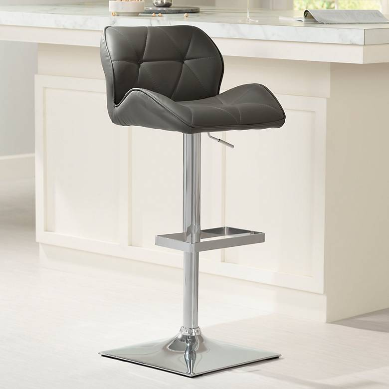 Boulton Gray Faux Leather Adjustable Swivel Bar Stool