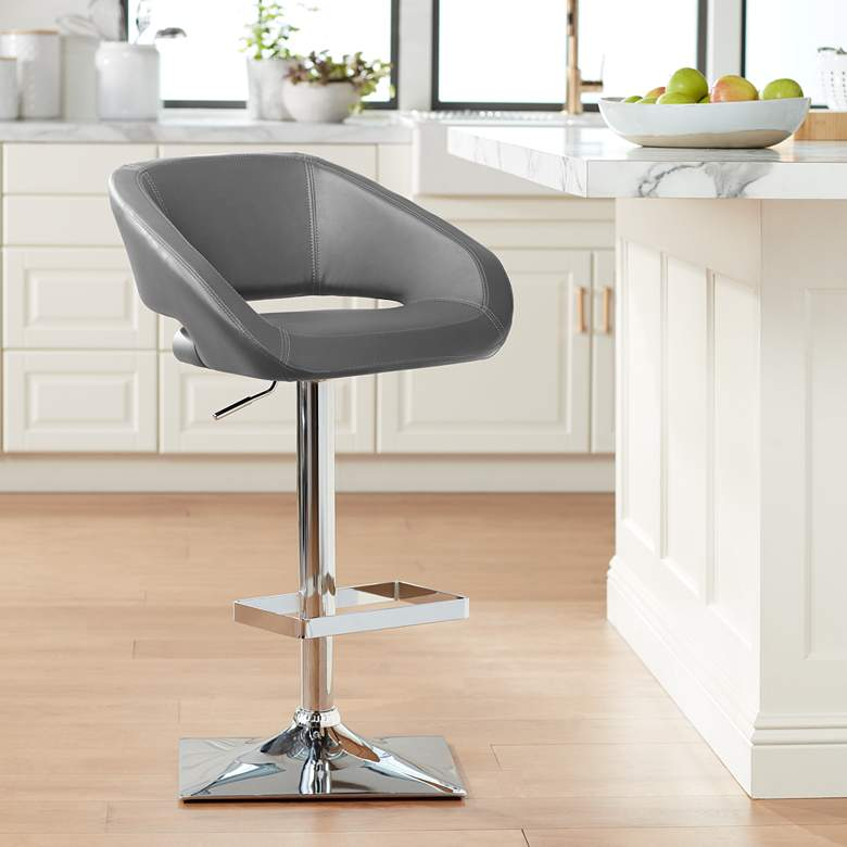 Gustavo Chrome and Gray Adjustable Swivel Bar Stool