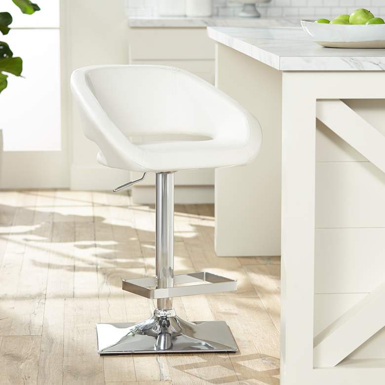 Gustavo Chrome and White Swivel Seat Adjustable Barstool