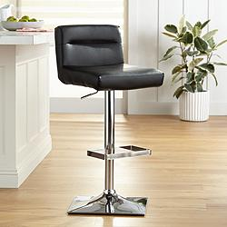 Stafford Black Faux Leather Adjustable Swivel Bar Stool