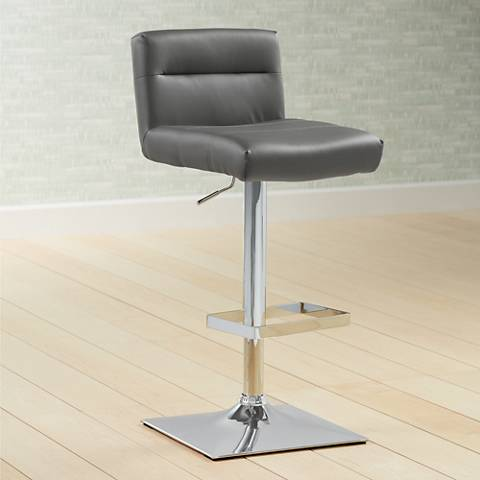 Stafford Gray Faux Leather Adjustable Swivel Bar Stool