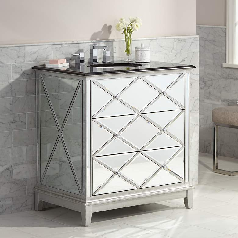 "Criss Cross Mirrored 34"" Wide Single Sink Vanity"