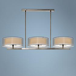 "Sonneman Puri 48""W Satin Nickel Kitchen Island Light Pendant"