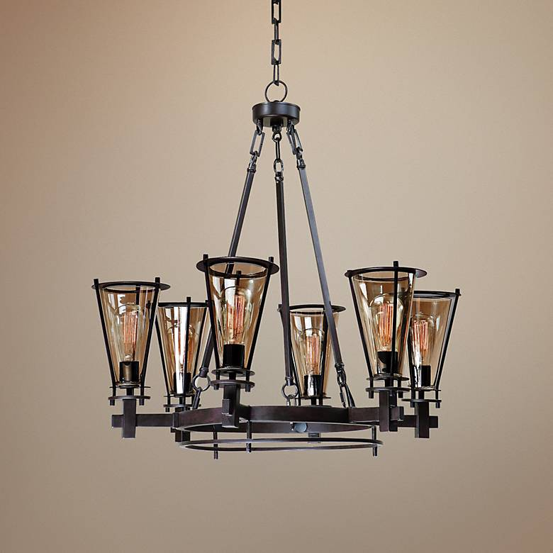 "Uttermost Frisco 32"" Wide Rustic Black Chandelier"