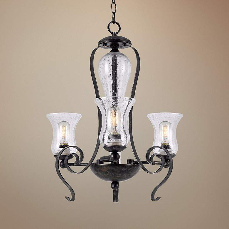 "Classic Collection 23 1/2"" Wide Black Iron Chandelier"