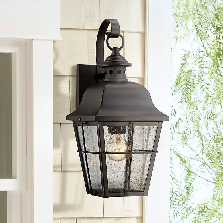 "Quoizel Millhouse 15 1/2"" High Black Outdoor Wall Light"