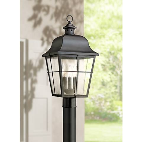 Quoizel millhouse 21 1 2 high black outdoor post light