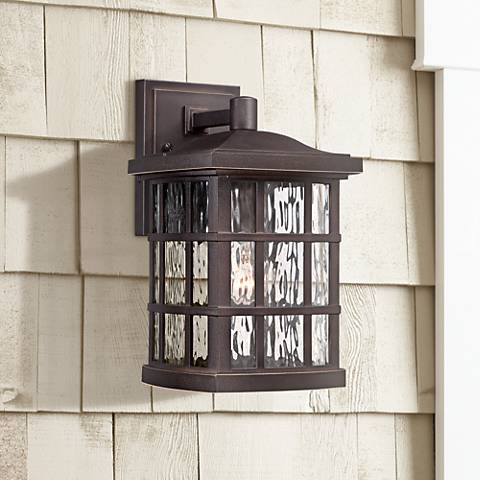 "Quoizel Stonington 13"" High Bronze Outdoor Wall Light"