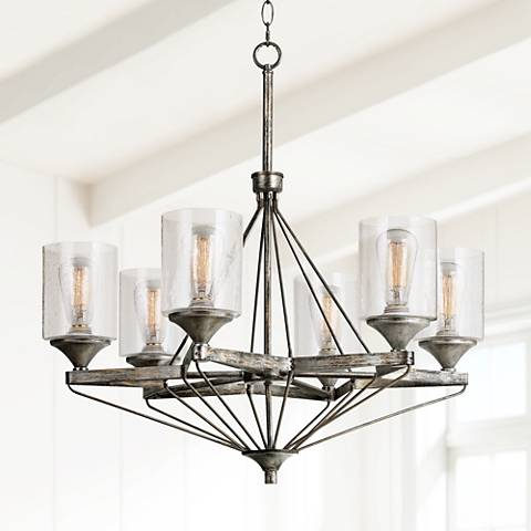 "Cresco Collection 28 1/2"" Wide Textured Steel Chandelier"