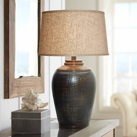 Kearny Indigo Blue Urn Table Lamp