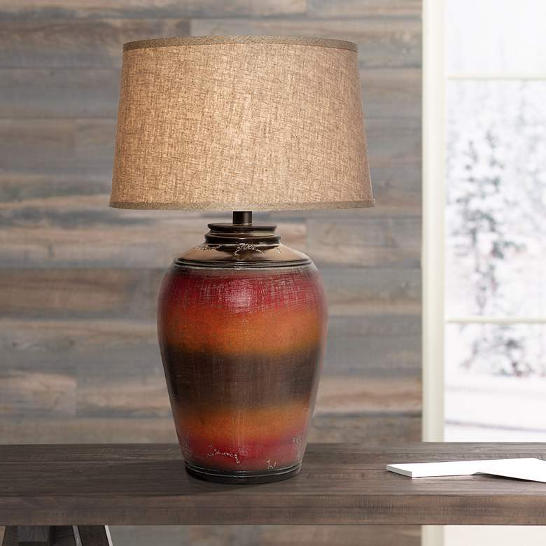 Kearny Red Orange Urn Table Lamp