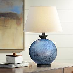 Pitkin Blue Round Table Lamp