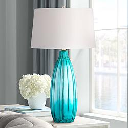 "Stella 30"" High Blue Fluted Glass Table Lamp"