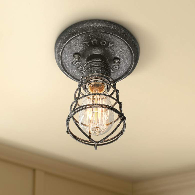 "Conduit 8 1/4"" High Old Silver Ceiling Light"