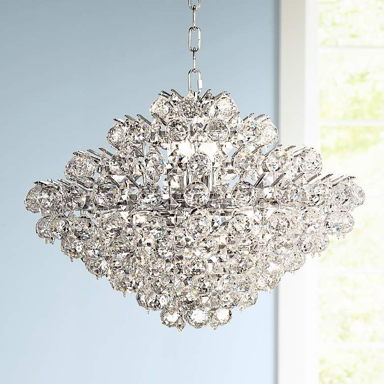 "Essa 24"" Wide Chrome and Crystal Pendant Light"