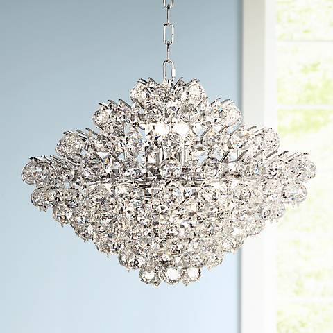 "Essa 24"" Wide Chrome - Crystal Pendant Light"