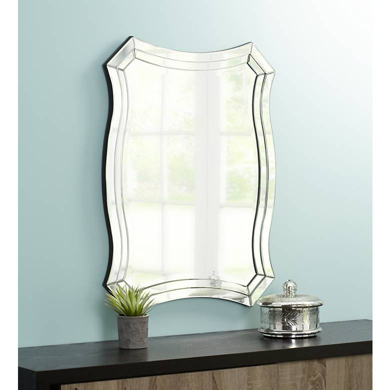 "Idell Scalloped Side 23 1/2"" x 32"" Wall Mirror"