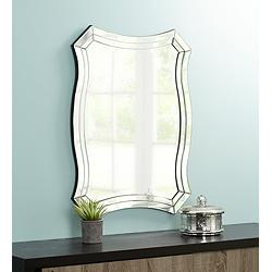 "Possini Euro Idell 23 1/2"" x 32"" Scalloped Wall Mirror"