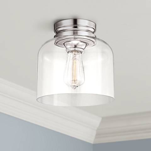 "Feiss Hounslow 9"" High Polished Nickel Ceiling Light"
